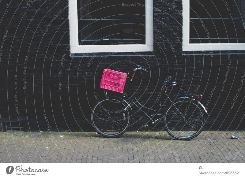 amsterdam Haus Fenster Straße Wand Wege & Pfade Mauer rosa Freizeit & Hobby Verkehr Fahrrad Fahrradfahren Pause Bürgersteig Verkehrswege Straßenverkehr Korb