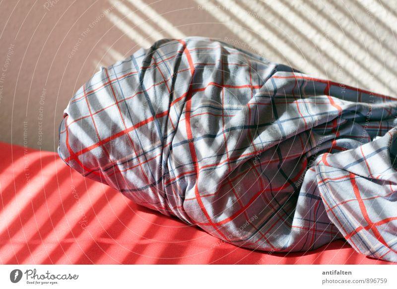 Wohlfühloase blau weiß rot Gefühle Innenarchitektur Glück Linie Zusammensein Wohnung Raum Häusliches Leben Sex Streifen Lebensfreude schlafen Bett