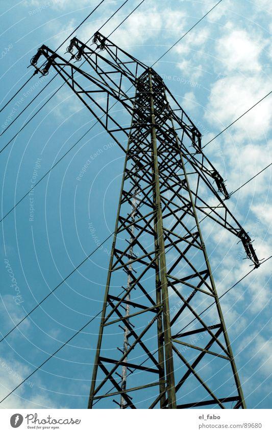 strommast nummer 71 Himmel Sommer Wolken Metall Energiewirtschaft Elektrizität Technik & Technologie Industriefotografie Kabel Strommast Eisen Bla