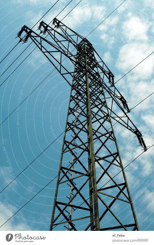 strommast nummer 71 Strommast Elektrizität Sommer Wolken Eisen 08 15 Bla Siegburg Elektrisches Gerät Technik & Technologie Himmel Kabel Metall