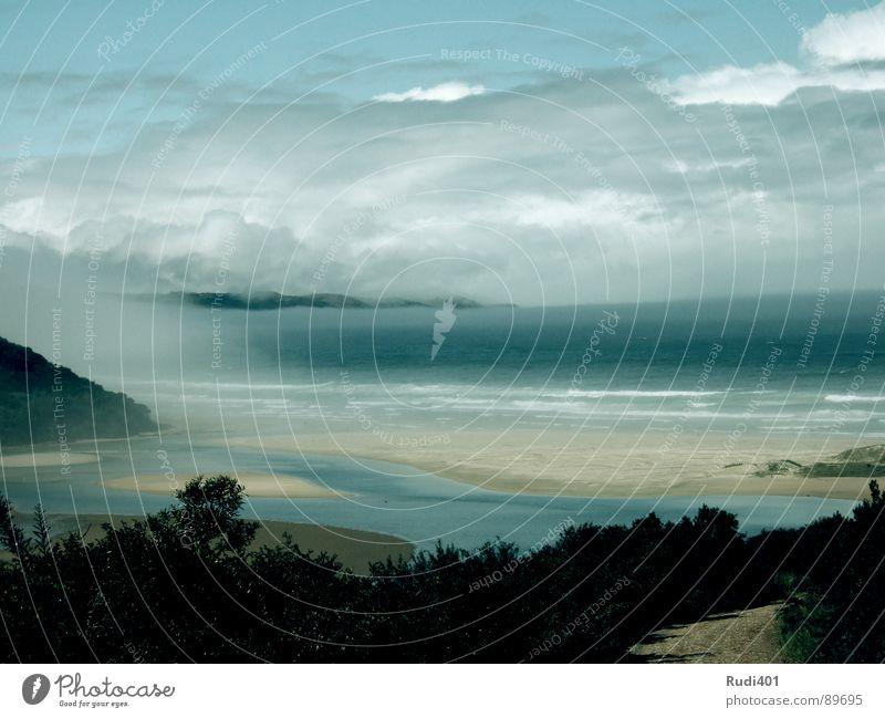to befog Wasser Himmel weiß Meer blau Strand Wolken Einsamkeit Stimmung Kraft Wind Afrika Bucht friedlich Südafrika überblicken