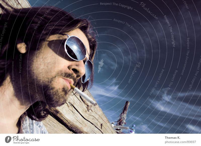 Holz. Porträt Schulter Brille Sonnenbrille lang Torso Schlüsselbein Reflexion & Spiegelung Haare & Frisuren Stirn Bart langsam verschlafen Haarschnitt