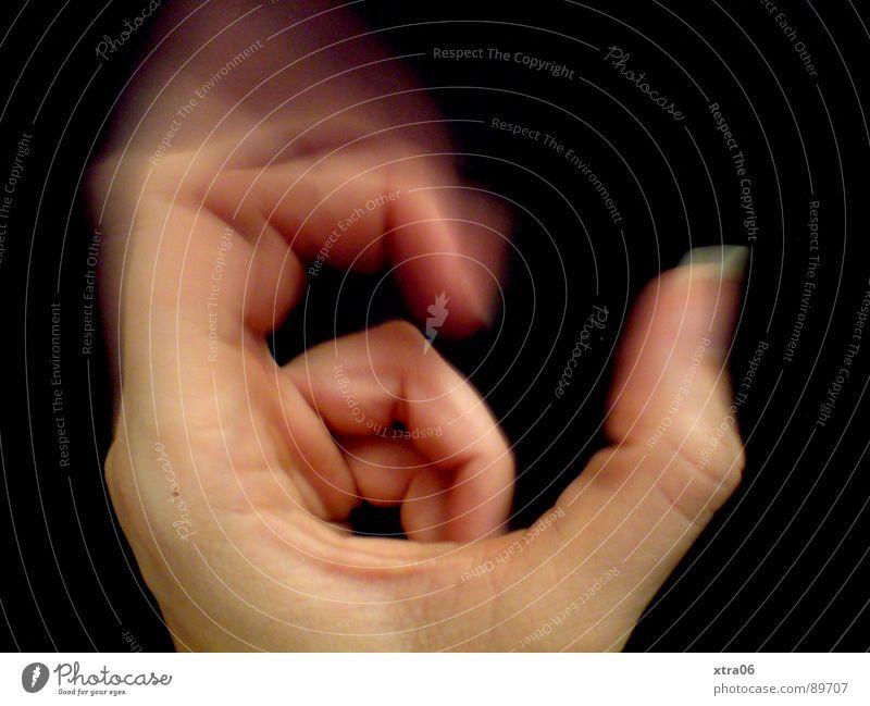 bewegte Hand 3 Geschwindigkeit Finger Fingernagel schwarz Faust Mensch Bewegung Haut