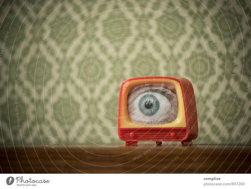 Glotze Einsamkeit Innenarchitektur Lifestyle Wohnung Raum Häusliches Leben Technik & Technologie beobachten retro Spielzeug Fernseher gruselig Fernsehen Wohnzimmer Tapete Werbebranche