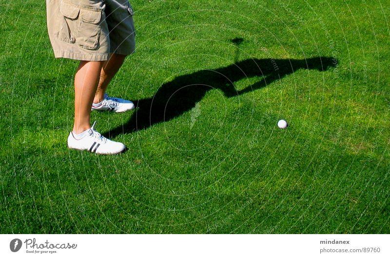 Schattenschwung grün Sport Wiese Golf Schwung Bewegung Abschlag Golfball