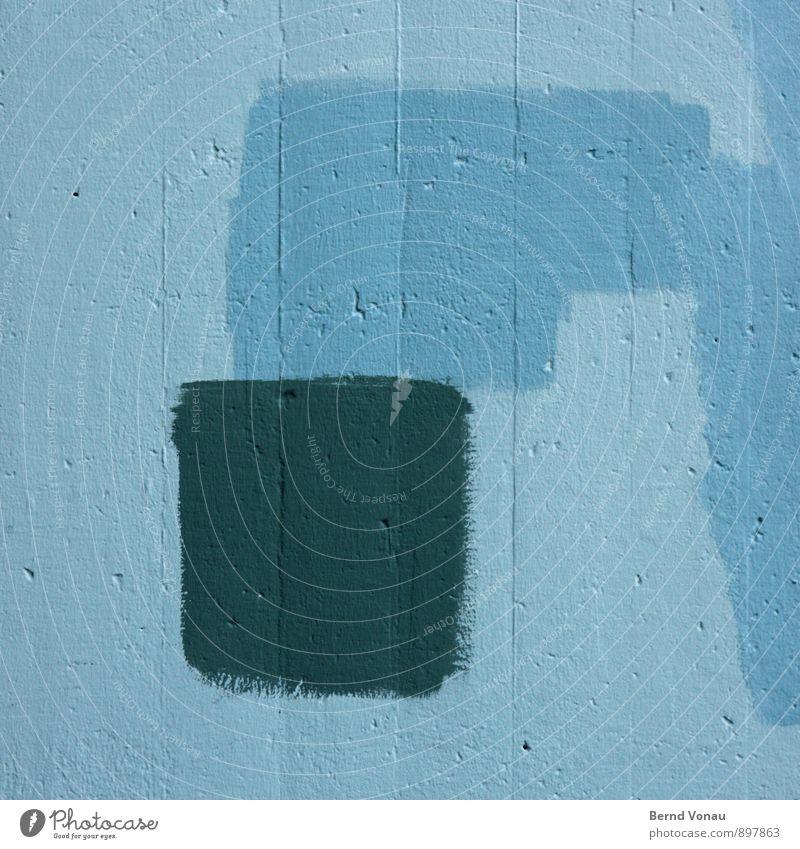 ~Q Haus Renovieren Architektur Fassade Beton streichen blau grau Farbe Wand Versuch bemalt Loch ortsichtbeton vergleichen Pinsel Quadrat Tiefenschärfe Rechteck