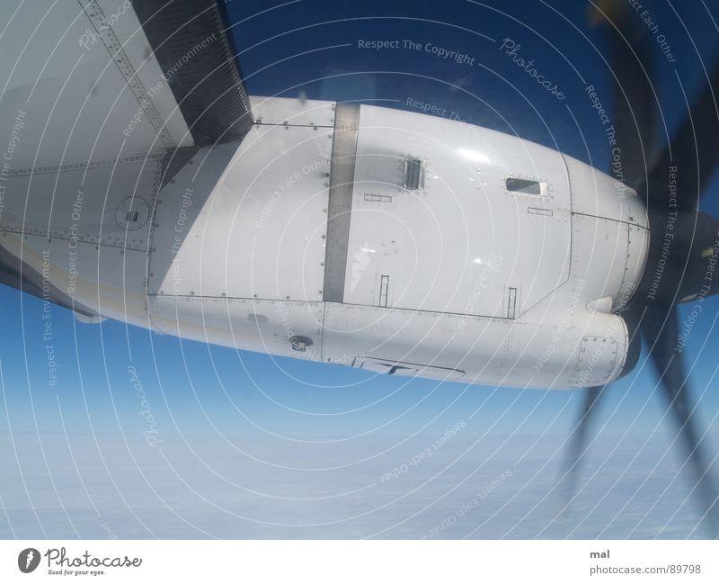 propeller atr72-500 Himmel blau Ferien & Urlaub & Reisen Wolken kalt Fenster Eis Vogel Flugzeug Horizont hoch Luftverkehr Tourismus Niveau Flügel Dresden