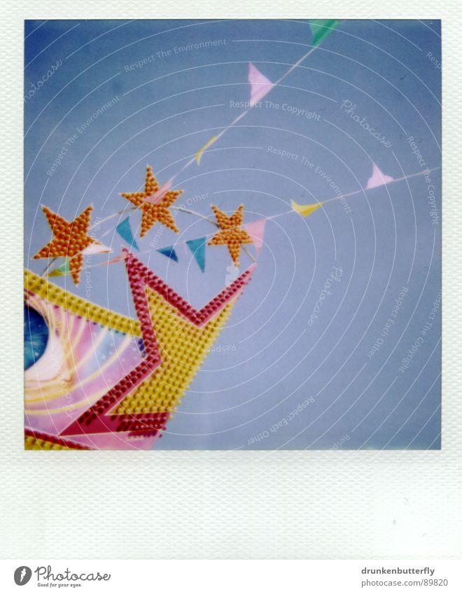* Jahrmarkt Dach Fahne glänzend rosa gelb Lampe Spielen Stern (Symbol) Himmel Wohnung blau