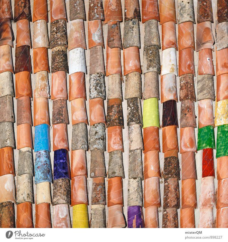 Kreativdach. blau rot gelb Architektur Kunst Ordnung Zufriedenheit Design ästhetisch Kreativität Idee Dach einzigartig Baustelle viele Quadrat