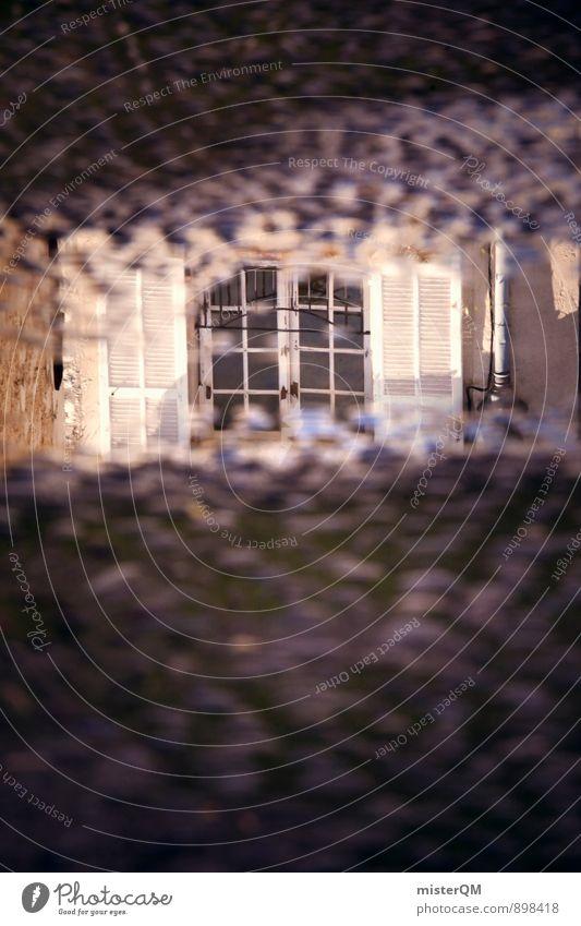 Fensterblick. Kunst Kunstwerk ästhetisch Reflexion & Spiegelung Abteilfenster Fensterladen Fensterscheibe Fensterbrett Fensterrahmen Fensterfront Pfütze Wasser