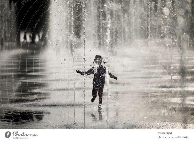 Water Dance I Kind Wasser Sommer Freude Spielen Freiheit Kunst Zufriedenheit Kindheit laufen ästhetisch Wassertropfen Lebensfreude Kindheitserinnerung