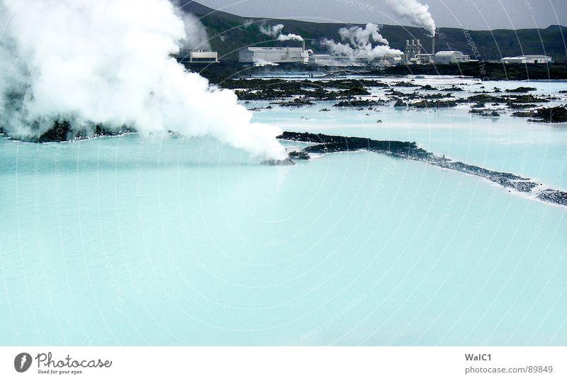Faule Eier in der Luft Natur Wasser blau Ferien & Urlaub & Reisen Wärme Kraft Gesundheit Wellness Bad Rauch Island Wasserdampf Stromkraftwerke Lagune Pumpe