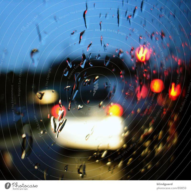 Rush Hour (a few meters further) blau Wasser rot Ferien & Urlaub & Reisen gelb Straße PKW Regen nass Ausflug Verkehr fahren KFZ Fensterscheibe Frankfurt am Main