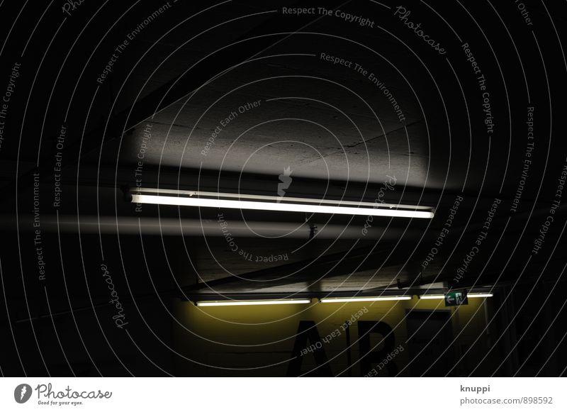 Exit Technik & Technologie leuchten dunkel modern gelb grau schwarz weiß Schweiz Luzern Parkhaus PKW Notausgang Leuchtstoffröhre Licht unterirdisch Beton