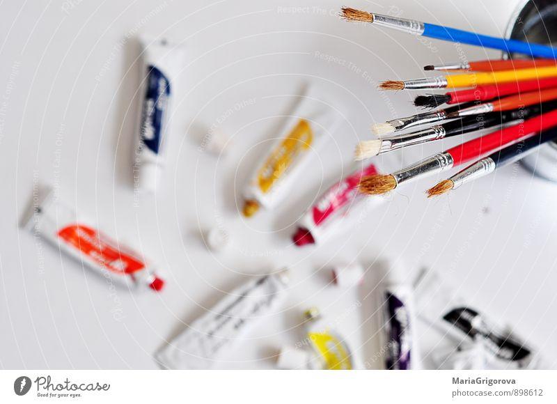 Pinsel und Aquarelle Freizeit & Hobby Kunst Künstler Maler Kunstwerk Gemälde Business Freude Stil Farbfoto Nahaufnahme Menschenleer Morgen Tag Unschärfe