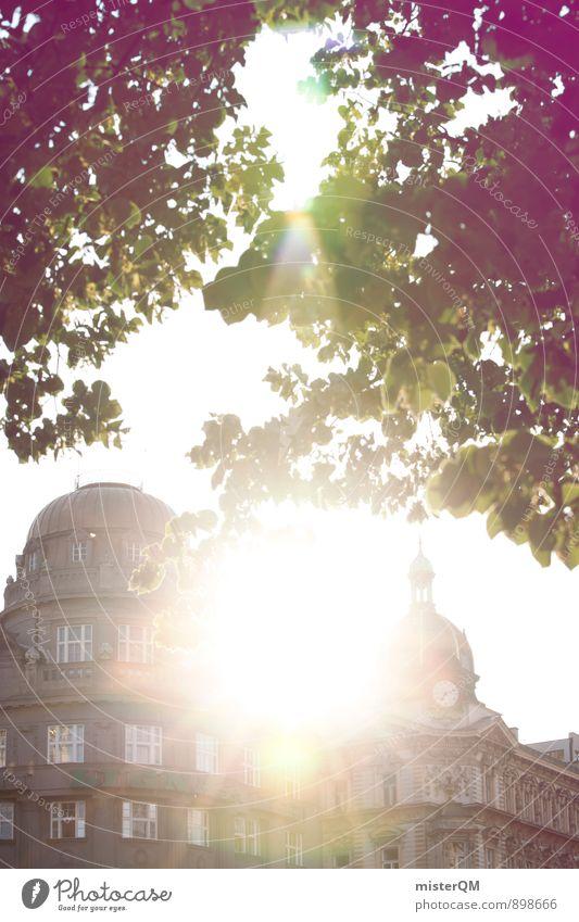 Prager Sonne. Kunst Kunstwerk ästhetisch Zufriedenheit Tschechien Sommer Sommerurlaub Städtereise Blätterdach Baumkrone Gebäude Stadt Altstadt historisch