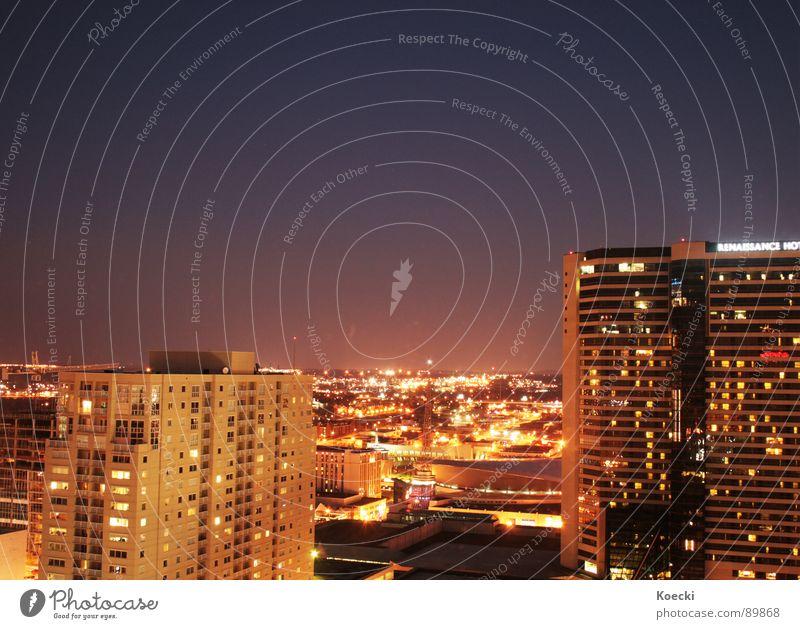 Nashville Tennessee Farbfoto Außenaufnahme Abend Nacht Licht Langzeitbelichtung Panorama (Aussicht) USA Stadt Stadtzentrum Skyline bevölkert Haus Hochhaus