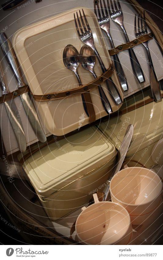 Outdoor-Mahlzeit-Zerteilhilfen, Aufbewahrung und Transport alt Freude Ernährung braun Metall Lebensmittel Ordnung Freizeit & Hobby Gastronomie Statue Kunststoff