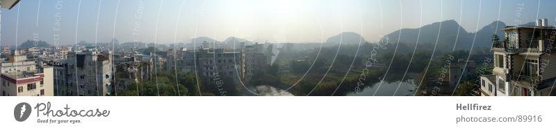 Guangzhou 2 Stadt China grün Nebel Aussicht Einsamkeit faszinierend Ausmaß Gras Nebelschleier Ferne Wildnis Schleier Fluss Grünfläche Wiese Smog