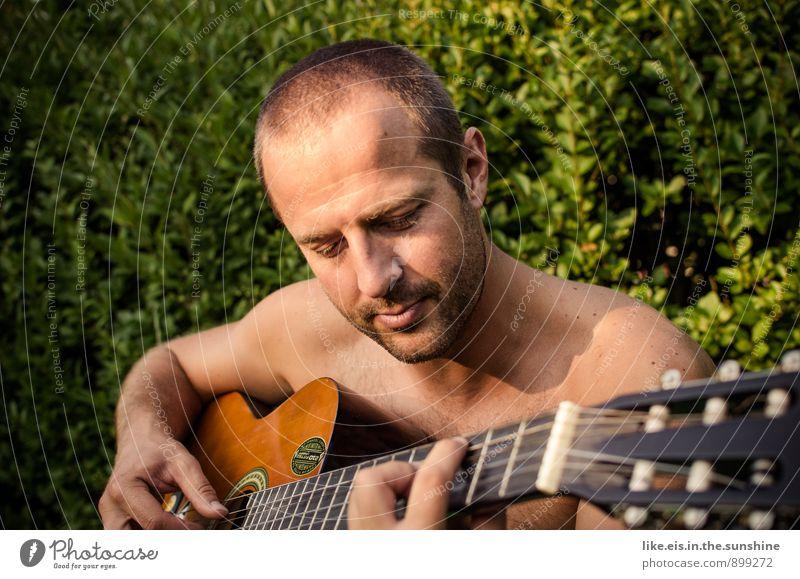 stairway to heaven Natur Jugendliche Mann nackt Sommer Erholung Freude Junger Mann Erwachsene Leben maskulin Freizeit & Hobby Musik Zufriedenheit genießen