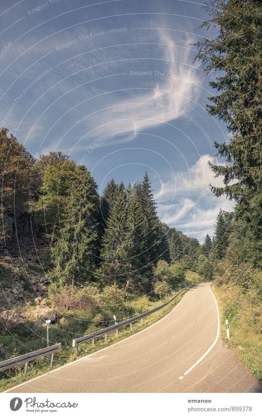 aufwärts Himmel Ferien & Urlaub & Reisen blau grün Sommer Baum Einsamkeit Landschaft Wald Berge u. Gebirge Straße Wege & Pfade natürlich Wetter Verkehr