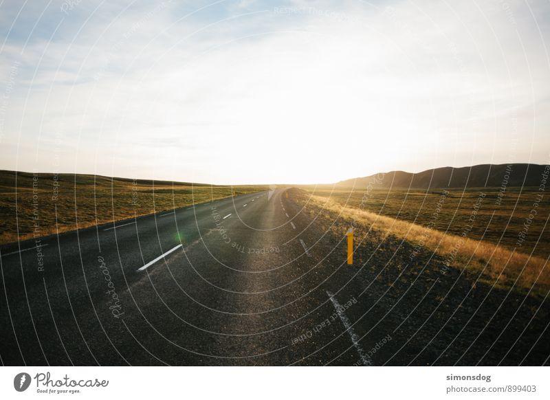 I'm in Iceland. Ferien & Urlaub & Reisen Landschaft Wärme Straße Herbst Gras Freiheit Horizont Idylle Hügel fahren Asphalt Verkehrswege Island geradeaus