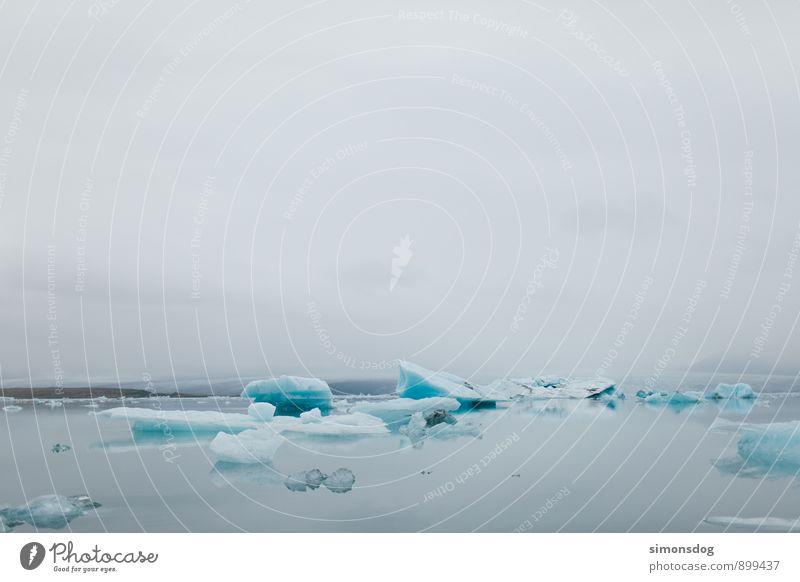 I'm in Iceland. Natur Ferien & Urlaub & Reisen blau Wasser Meer Landschaft ruhig Wolken Winter kalt See Eis Idylle Nebel Zufriedenheit Klima