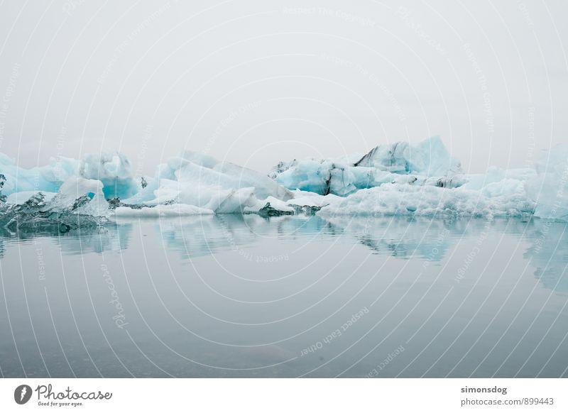 I'm in Iceland. Natur Ferien & Urlaub & Reisen blau Wasser Meer ruhig Wolken Winter kalt Umwelt See Eis Ordnung Klima Speiseeis Urelemente