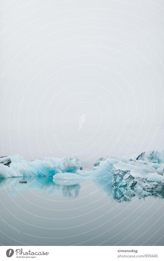 I'm in Iceland. Natur Urelemente Wasser schlechtes Wetter Nebel Eis Frost Meer See Klima Eisberg Gletschereis blau schimmern ruhig Wolken Klarheit