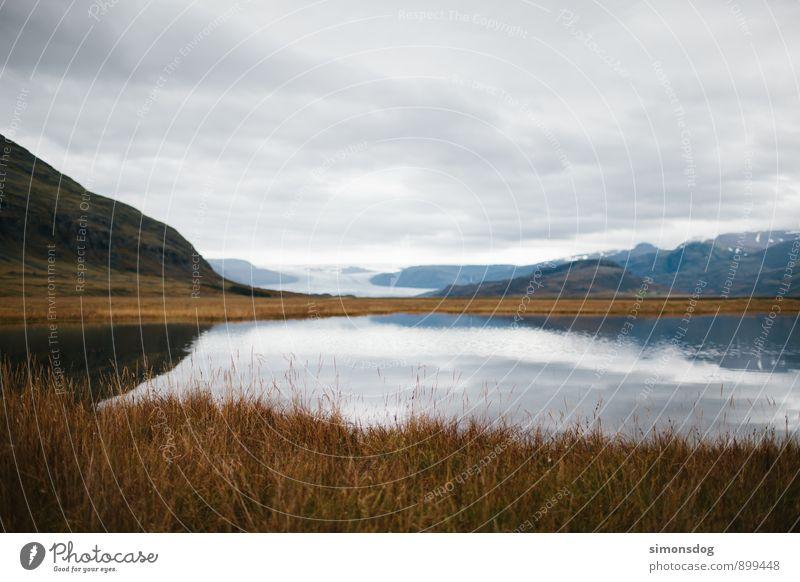 I'm in Iceland. Natur Ferien & Urlaub & Reisen Pflanze Landschaft Wolken Berge u. Gebirge Herbst See Sträucher dünn Island Dürre Gletscher