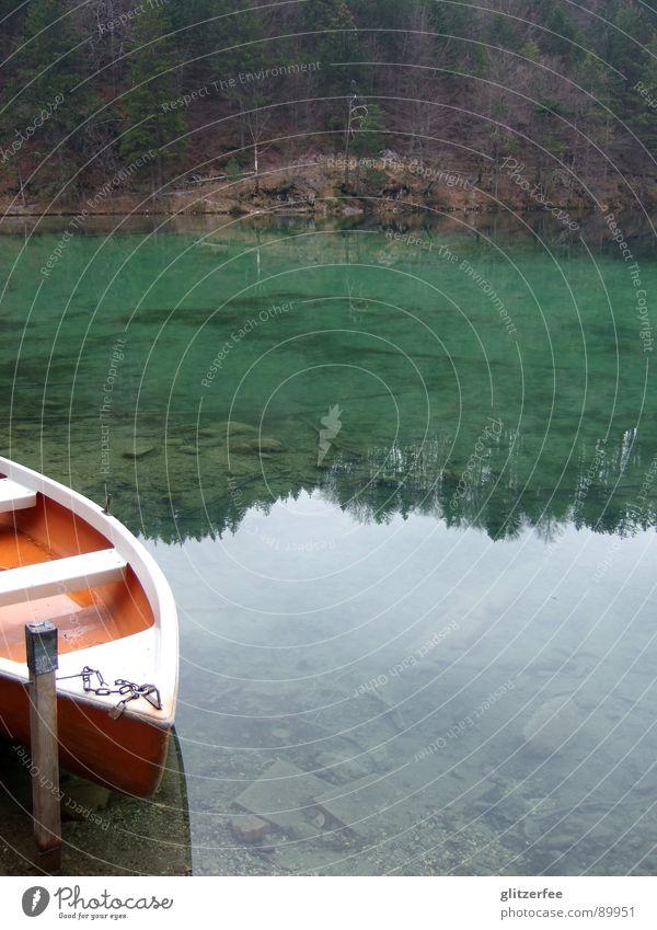 letzte chance... See Gebirgssee Allgäu Wasserfahrzeug Holz Baum Sträucher grün Smaragd ruhig Steg Reflexion & Spiegelung Fee Frieden Küste