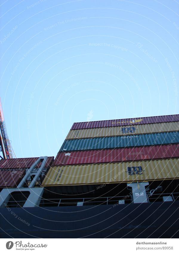 Containerladung 2 Himmel blau weiß Meer schwarz kalt dunkel Metall See Wasserfahrzeug Angst Verkehr Macht Fluss Güterverkehr & Logistik Hafen