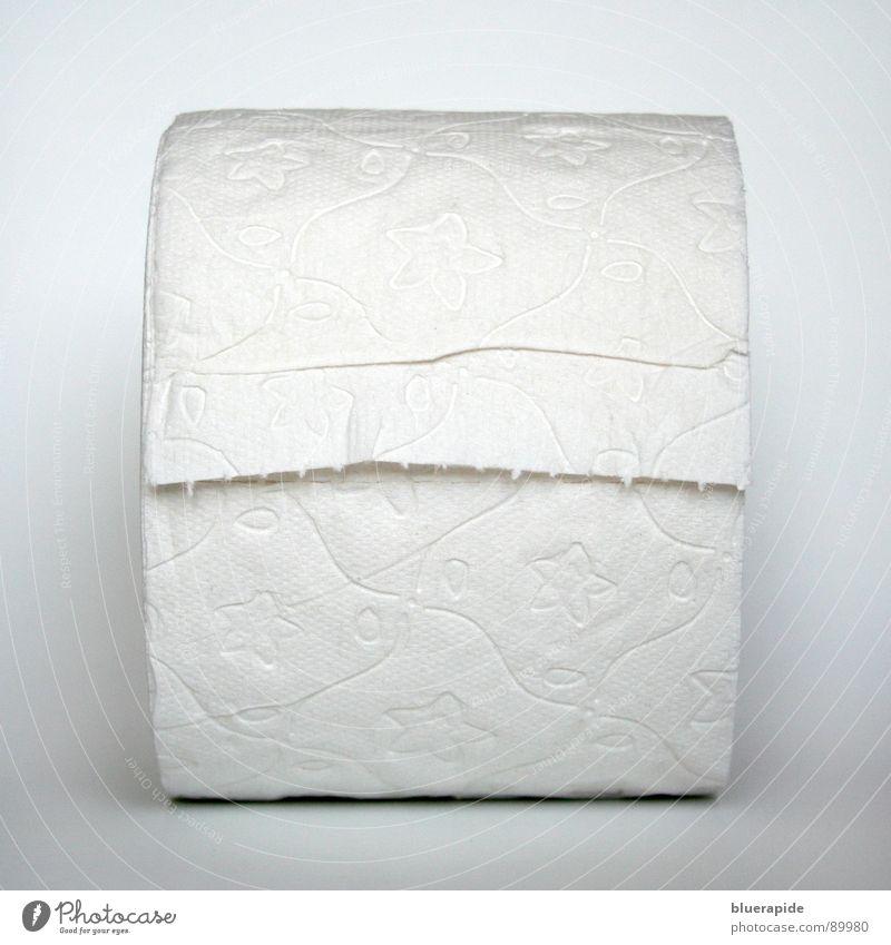 3 Lagen für ein Halleluja Papier Toilettenpapier Linie neu rund Sauberkeit weich grau weiß rein Rolle Perforierung Quadrat Stern (Symbol) Spuren