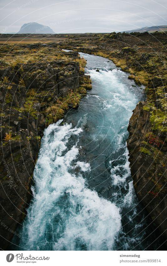 I'm in Iceland. Natur Landschaft Urelemente Wasser Wolken Moos Hügel Felsen Fluss kalt Horizont Idylle Ferien & Urlaub & Reisen Island reißend blau deutlich