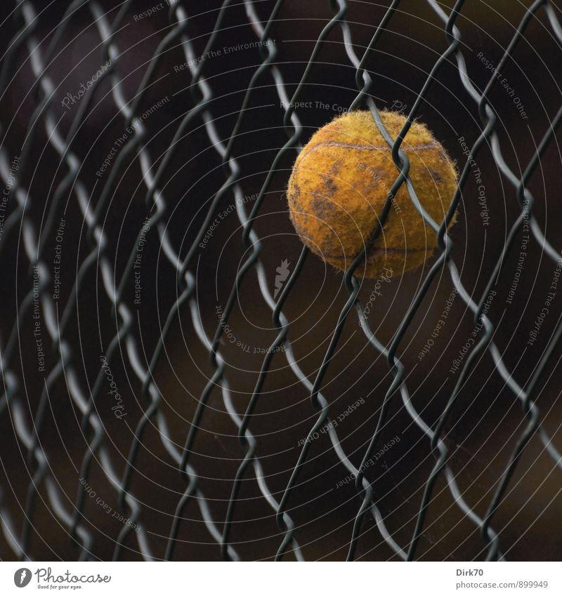 Das Spiel ist aus. alt schwarz gelb Sport grau braun Metall rund Netzwerk Ball Zaun Barriere Kugel hängen Verzweiflung