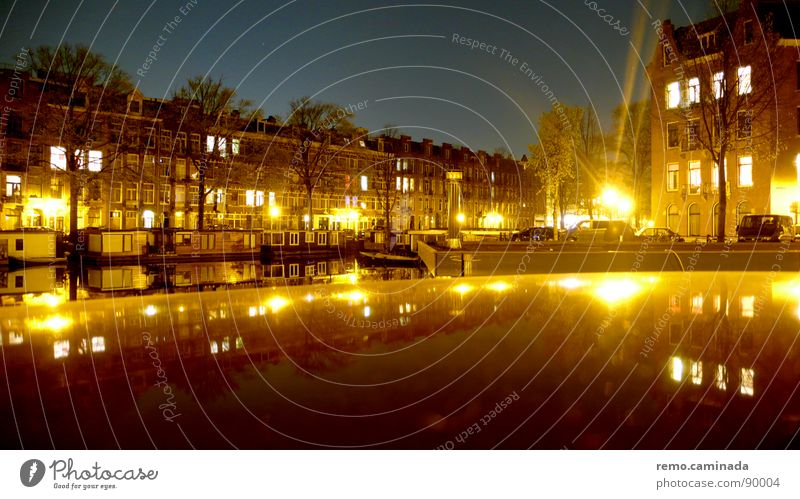 Siehe Bemerkung Nacht Licht Reflexion & Spiegelung Langzeitbelichtung Amsterdam Stadt fantastisch 2 dunkel Stimmung Romantik Windstille Fenster Wohnung