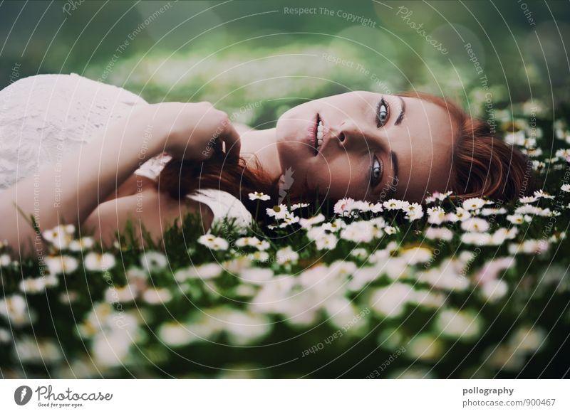 i love to dream Mensch feminin Junge Frau Jugendliche Erwachsene Leben Körper Kopf 1 18-30 Jahre Natur Pflanze Sommer Schönes Wetter Gras Gänseblümchen Kleid