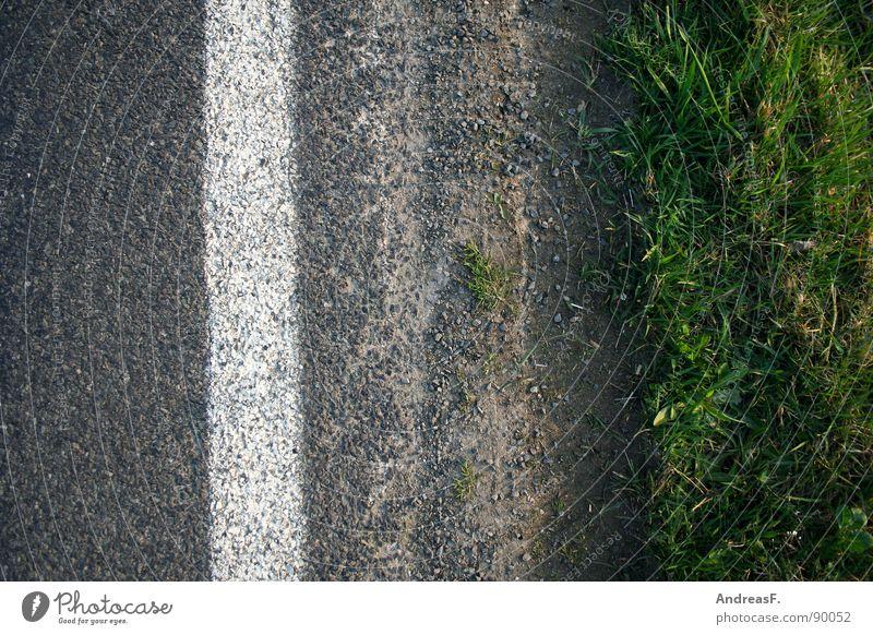 Streetart Fahrbahn Straßenrand Asphalt grau Fahrbahnmarkierung Seitenstreifen Wassergraben Gras Verkehrswege Erde Sand Schilder & Markierungen grünstreifen