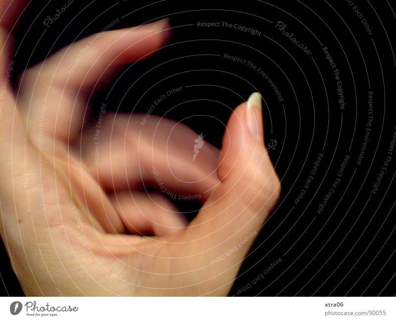 bewegte Hand 5 Finger Fingernagel Geschwindigkeit schwarz Mensch Bewegung schärfe-unschärfe Haut
