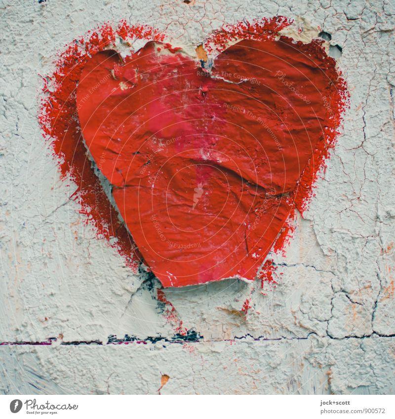 Schnipseljagd, Herz Stil Grafik u. Illustration Silhouette Tapetenwechsel Acrylfarbe fest groß Kitsch trashig rot Stimmung Verschwiegenheit Liebe Menschlichkeit