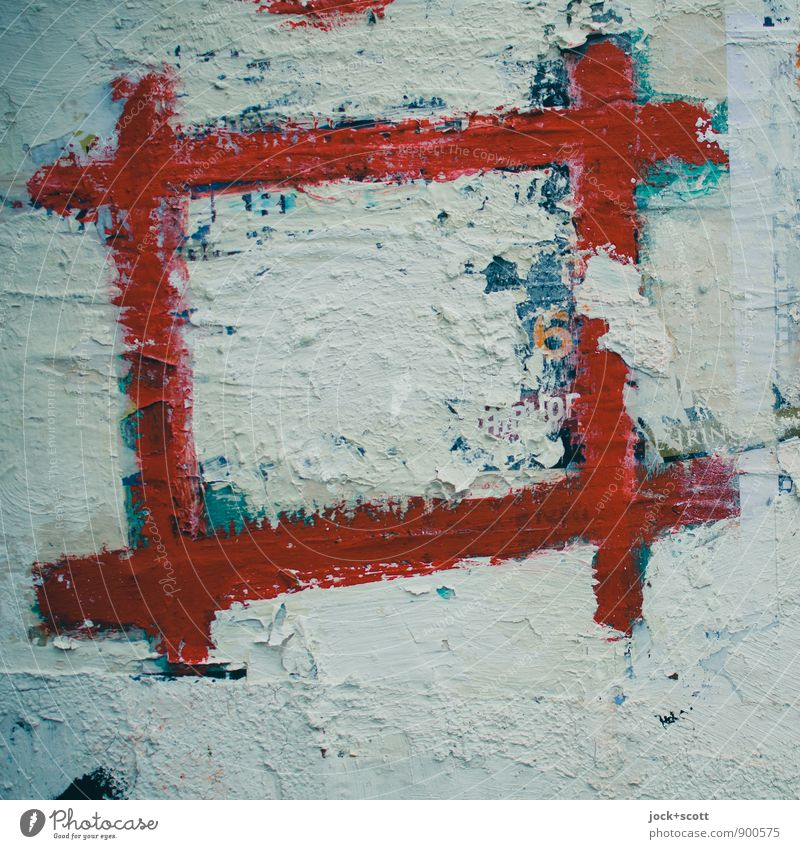 Rahmenbedingung zum Gruppenfeeling rot Stil Linie Raum Dekoration & Verzierung Kreativität einfach kaputt Zeichen retro Schutz Ziel Glaube fest eckig