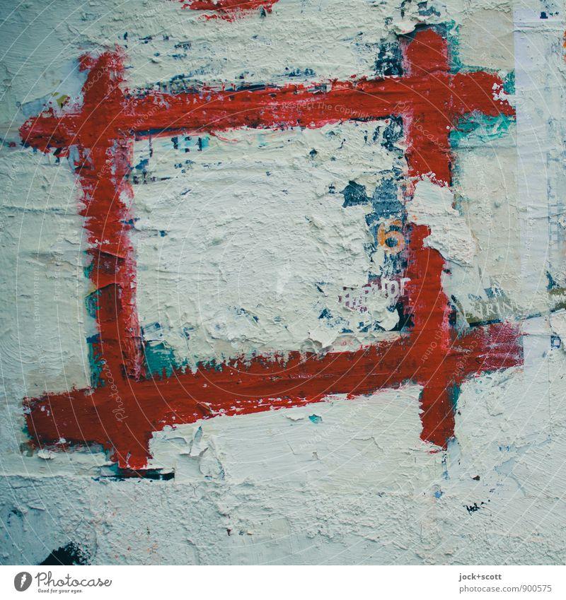 Rahmenbedingung zum Gruppenfeeling Stil Subkultur Straßenkunst Rechteck Dekoration & Verzierung Zeichen Linie 6 eckig einfach fest kaputt retro rot Stimmung