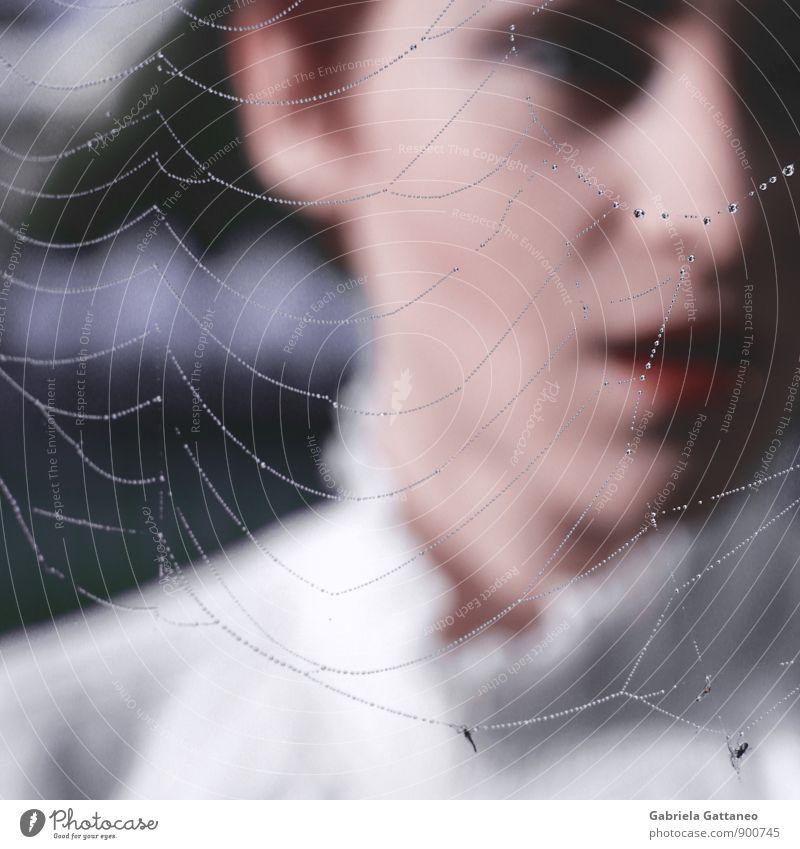 the breath feminin 1 Mensch 18-30 Jahre Jugendliche Erwachsene schön Netz Spinnennetz Bluse Blouse Farbfoto Außenaufnahme Schwache Tiefenschärfe Wegsehen
