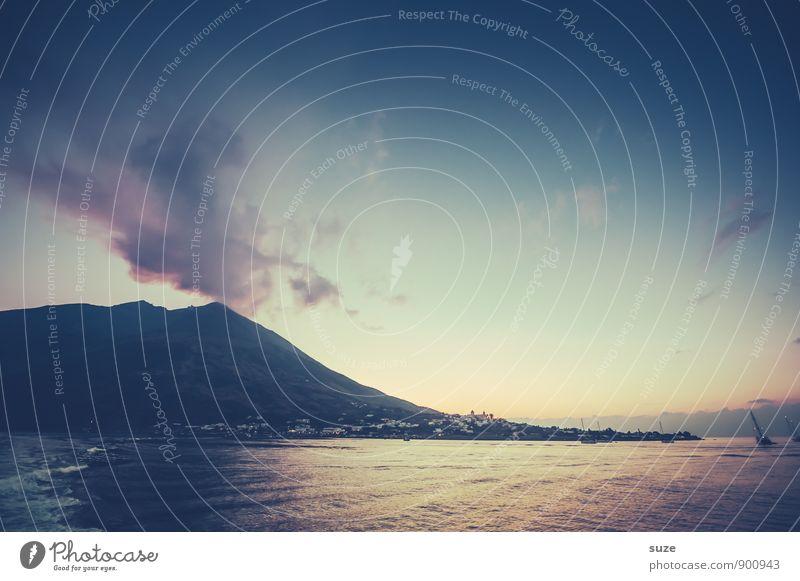 Schlummerlicht Himmel Natur Ferien & Urlaub & Reisen Meer Reisefotografie Berge u. Gebirge Umwelt Küste Insel fantastisch Italien Abenteuer Urelemente Gipfel