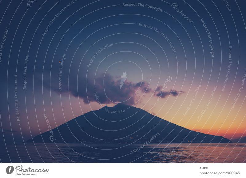 Heiße Nacht Himmel Natur Ferien & Urlaub & Reisen blau Meer Umwelt Berge u. Gebirge Reisefotografie Küste Insel fantastisch Abenteuer Feuer Italien Romantik