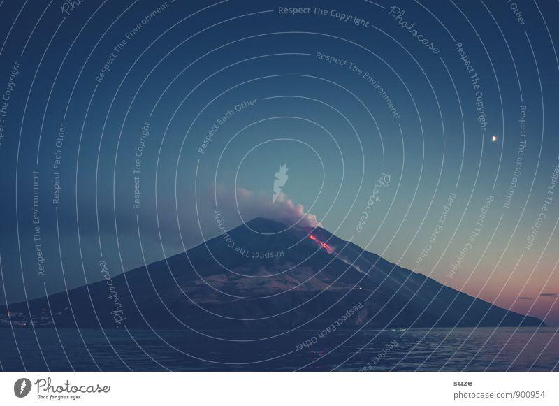 Teufels Küche Italien Sizilien Ferien & Urlaub & Reisen Reisefotografie Tourismus malerisch Berge u. Gebirge Himmel Abenteuer Gipfel Meer Lava glühend Eruption