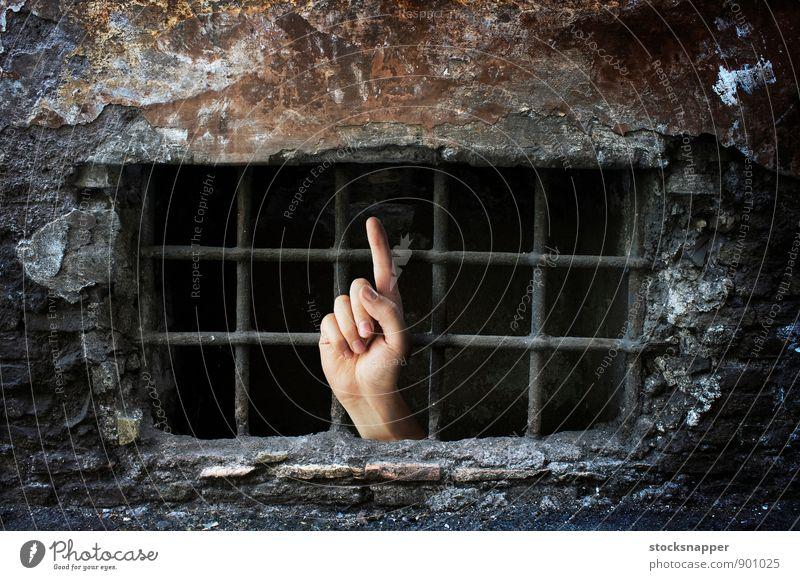 Gefangen Konzepte & Themen Hand zeigen Weiche Finger Zeigefinger Verlies Keller Bars Schicksal bestimmt hilflos gefangen hinten Erreichen Justizvollzugsanstalt