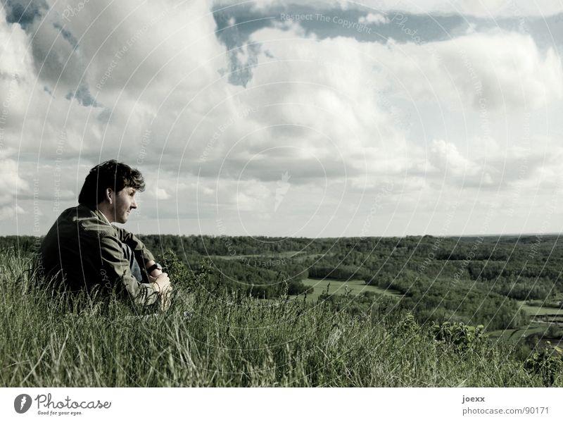 Weiter II Mensch Himmel Mann blau grün Ferien & Urlaub & Reisen Wolken Ferne Erholung Wiese Landschaft Freiheit Gras Denken Horizont Freizeit & Hobby