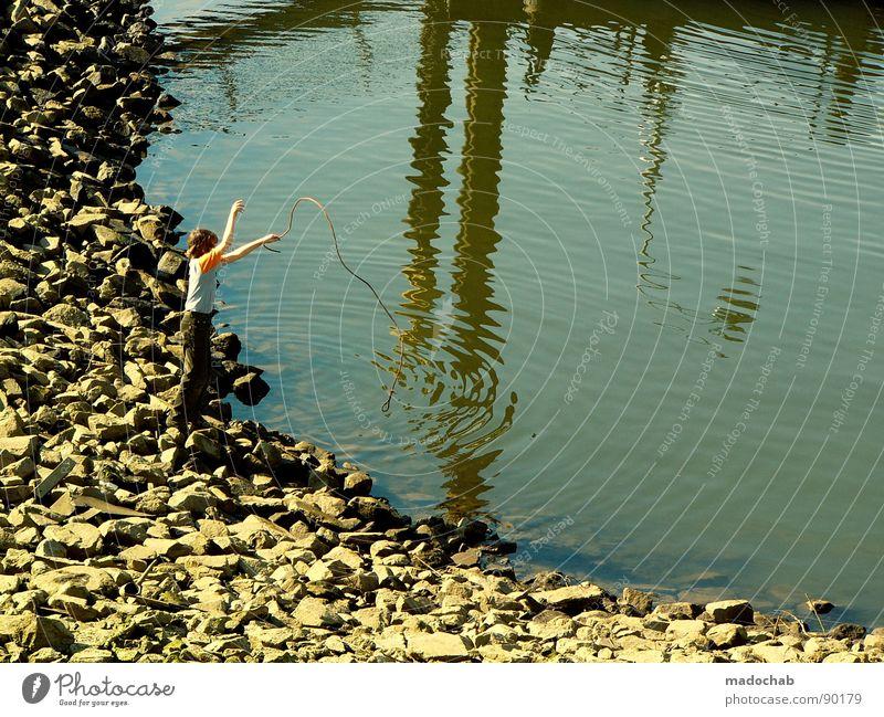 CATCH YOUR ILLUSIONS Mensch Wasser Sommer Freude Spielen Stein See Seil Freizeit & Hobby Hafen Teich Angeln Becken Angler kindlich kindisch