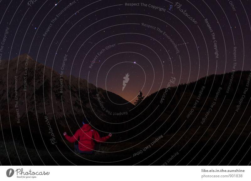 einfach mal runterkommen. Erholung ruhig Berge u. Gebirge maskulin Zufriedenheit genießen Alpen Gelassenheit Meditation Yoga Sternenhimmel